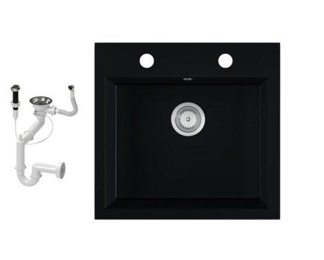 Gránit mosogató EOS Como + dugókiemelő + szifon (matt fekete)