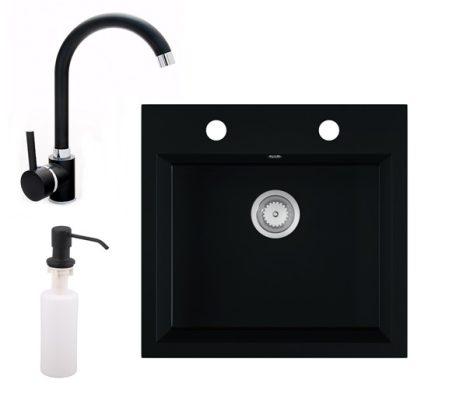 Gránit mosogató EOS Como + magasított csaptelep + adagoló + szifon (matt fekete)