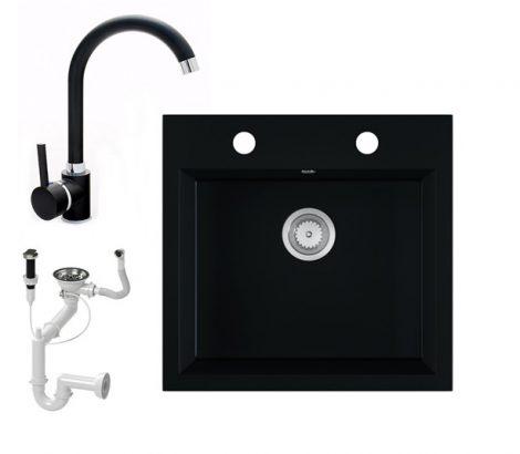 Gránit mosogató EOS Como + magasított csaptelep + dugókiemelő + szifon (matt fekete)