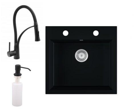 Gránit mosogató EOS Como + kihúzható zuhanyfejes Duo-Flex csaptelep + adagoló (matt fekete)