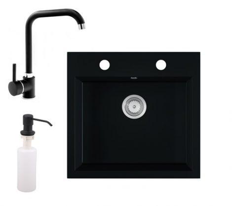 Gránit mosogató EOS Como + Steel csaptelep + adagoló + szifon (matt fekete)