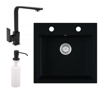 Gránit mosogató EOS Como + Design csaptelep + adagoló (matt fekete)