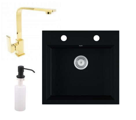 Gránit mosogató EOS Como + Design Gold csaptelep + adagoló (matt fekete)