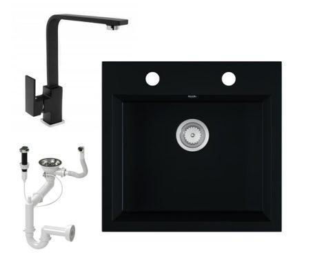 Gránit mosogató EOS Como + Design csaptelep + dugókiemelő (matt fekete)