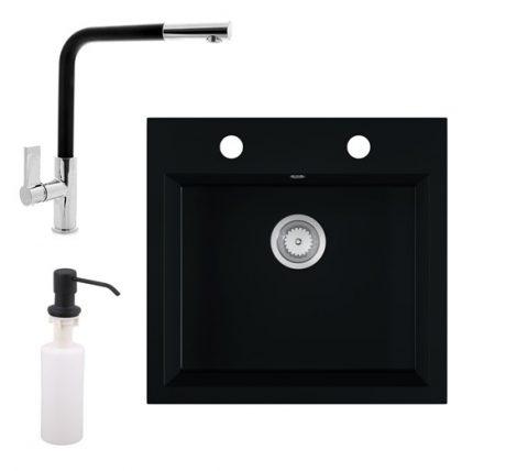 Gránit mosogató EOS Como + Kihúzható fejes Linea csaptelep + adagoló (matt fekete)