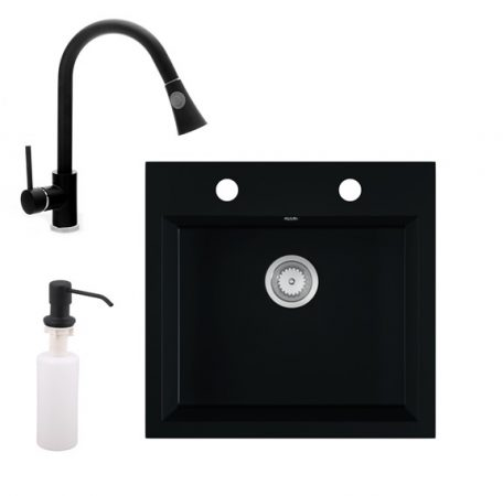 Gránit mosogató EOS Como + Kihúzható zuhanyfejes Snake csaptelep + adagoló (matt fekete)