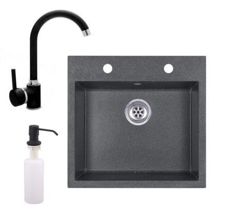 Gránit mosogató EOS Como + magasított csaptelep (fekete) + adagoló (grafit)