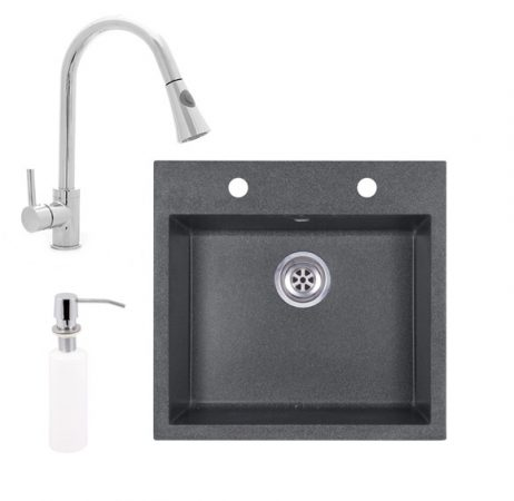Gránit mosogató EOS Como + kihúzható zuhanyfejes Snake csaptelep + adagoló (grafit)