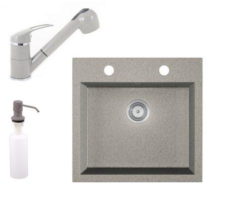 Gránit mosogató EOS Como + Kihúzható zuhanyfejes Shower csaptelep + adagoló (szürke)