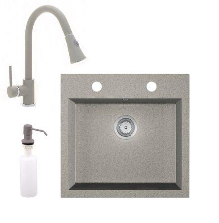 Gránit mosogató EOS Como + kihúzható zuhanyfejes Snake csaptelep + adagoló (szürke)