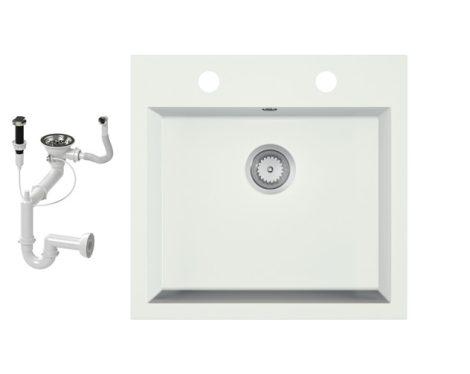 Gránit mosogató EOS Como + dugókiemelő + szifon (fehér)