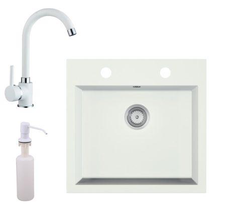 Gránit mosogató EOS Como + magasított csaptelep + adagoló + szifon (fehér)