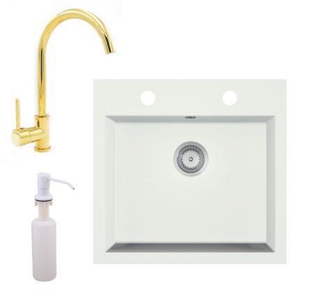 Gránit mosogató EOS Como + magasított arany csaptelep + adagoló + szifon (fehér)
