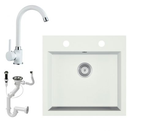 Gránit mosogató EOS Como + magasított csaptelep + dugókiemelő + szifon (fehér)
