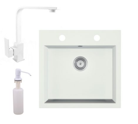 Gránit mosogató EOS Como + Design csaptelep + adagoló + szifon (fehér)