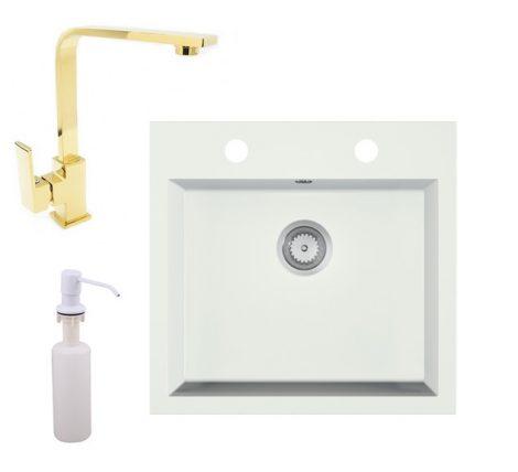 Gránit mosogató EOS Como + Design Gold csaptelep + adagoló + szifon (fehér)