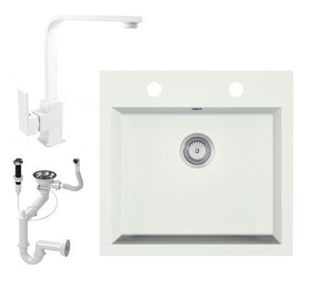 Gránit mosogató EOS Como + Design csaptelep + dugókiemelő + szifon (fehér)