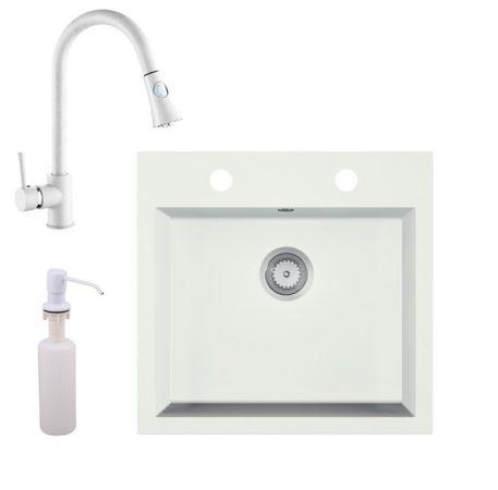 Gránit mosogató EOS Como + Kihúzható zuhanyfejes Snake csaptelep + adagoló + szifon (fehér)