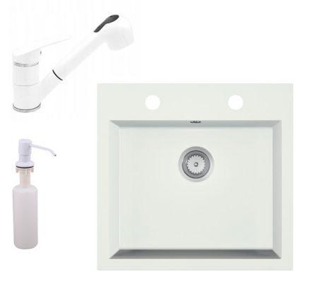 Gránit mosogató EOS Como + Kihúzható zuhanyfejes Shower csaptelep + adagoló + szifon (fehér)