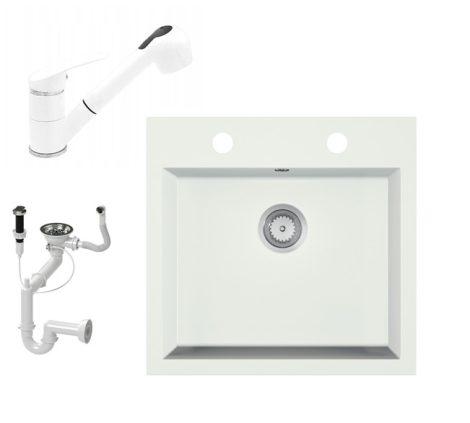 Gránit mosogató EOS Como + Kihúzható zuhanyfejes Shower csaptelep + dugókiemelő + szifon (fehér)