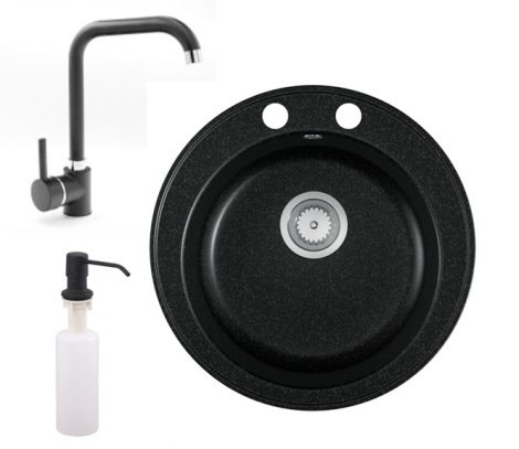 Gránit mosogató EOS Valero + Steel csaptelep + adagoló (fekete)