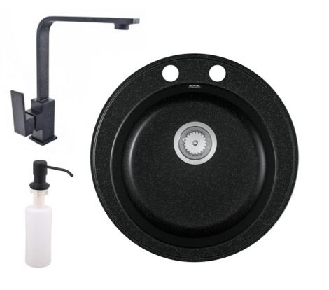 Gránit mosogató EOS Valero + Design csaptelep + adagoló (fekete)