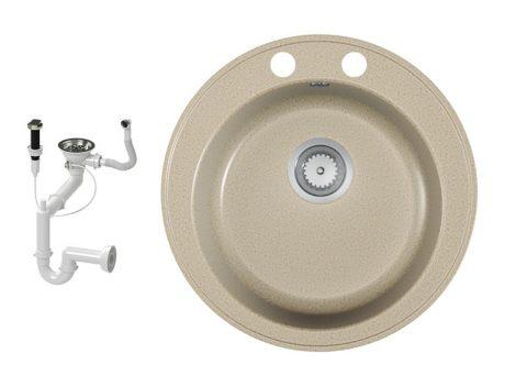 Gránit mosogató EOS Valero + dugókiemelő + szifon (bézs)