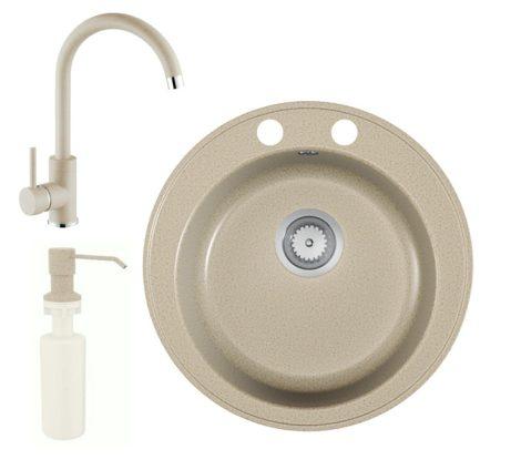 Gránit mosogató EOS Valero + magasított csaptelep + adagoló + szifon (Bézs)