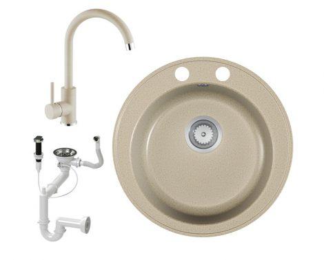 Gránit mosogató EOS Valero + magasított csaptelep + dugóemelő + szifon (Bézs)