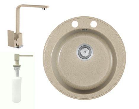 Gránit mosogató EOS Valero + Design csaptelep + Design adagoló + szifon (Bézs)