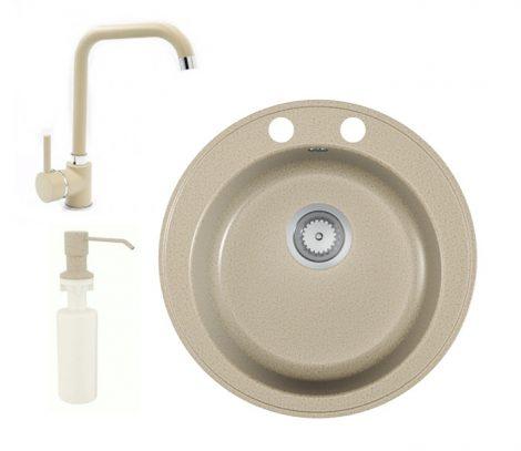 Gránit mosogató EOS Valero + Steel csaptelep + adagoló (bézs)