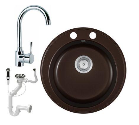 Gránit mosogató EOS Valero + magasított csaptelep + dugókiemelő (kávébarna)