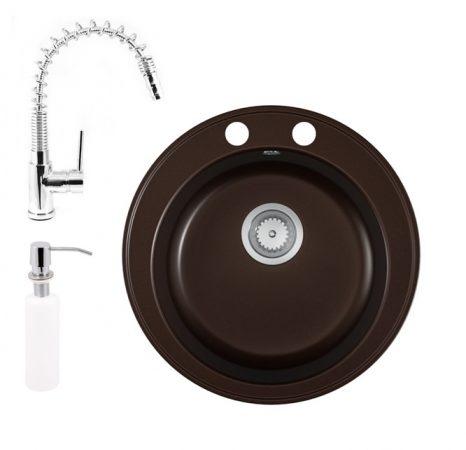 Gránit mosogató EOS Valero + Spring-Jet kihúzható fejes csaptelep + adagoló (kávébarna)