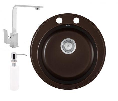 Gránit mosogató EOS Valero + Design csaptelep + adagoló (kávébarna)