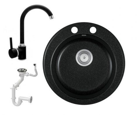 Gránit mosogató EOS Valero + magasított csaptelep + szifon (fekete)