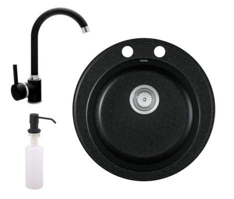 Gránit mosogató EOS Valero + magasított csaptelep + adagoló (fekete)