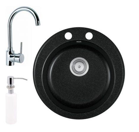 Gránit mosogató EOS Valero + magasított króm csaptelep + adagoló (fekete)