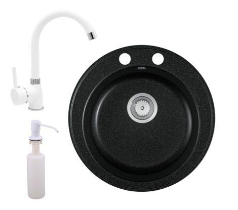 Gránit mosogató EOS Valero + magasított csaptelep (fehér) + adagoló (fekete)
