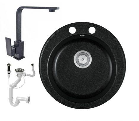 Gránit mosogató EOS Valero + Design csaptelep + dugókiemelő (fekete)