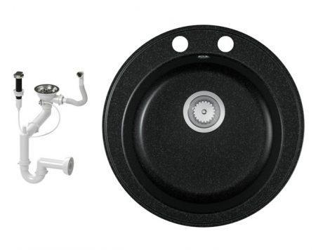 Gránit mosogató EOS Valero + dugókiemelő + szifon (fekete)