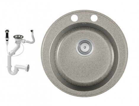 Gránit mosogató EOS Valero + dugókiemelő + szifon (szürke)