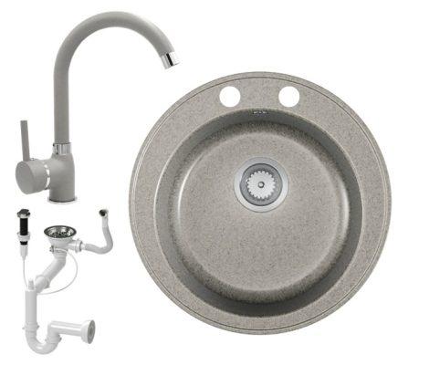 Gránit mosogató EOS Valero + magasított csaptelep + dugókiemelő (szürke)