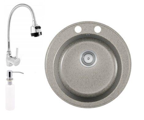 Gránit mosogató EOS Valero + flexibilis zuhanyfejes csaptelep + adagoló (szürke)