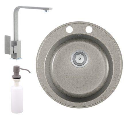 Gránit mosogató EOS Valero + magasított csaptelep + adagoló (szürke)