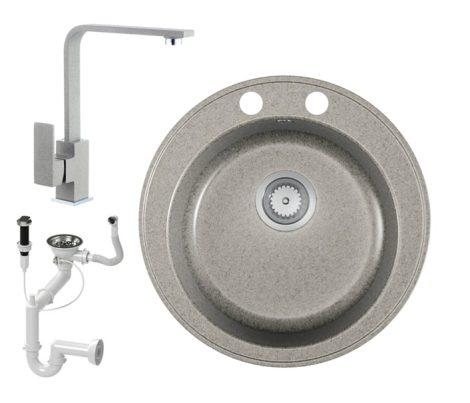 Gránit mosogató EOS Valero + Design csaptelep + dugókiemelő (szürke)