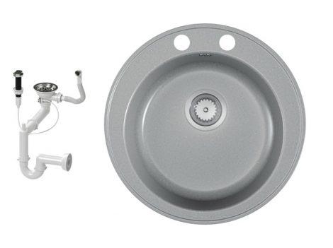 Gránit mosogató EOS Valero + dugókiemelő + szifon (matt szürke)