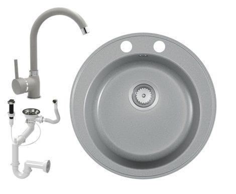 Gránit mosogató EOS Valero + magasított csaptelep + dugókiemelő (matt szürke)