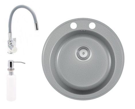 Gránit mosogató EOS Valero + hajlítható flexibilis csaptelep + adagoló (matt szürke)