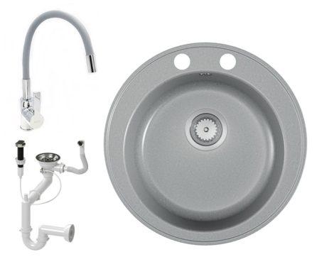 Gránit mosogató EOS Valero + hajlítható flexibilis csaptelep + dugókiemelő (matt szürke)