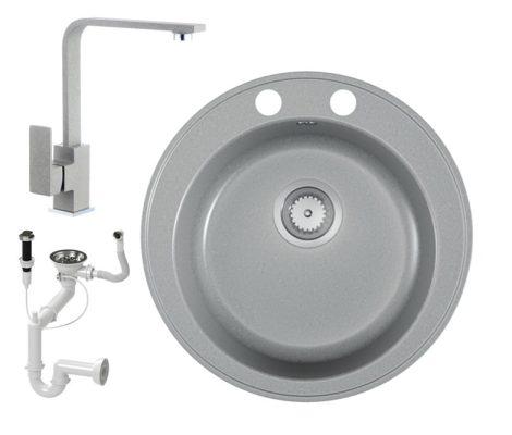 Gránit mosogató EOS Valero + Design csaptelep + dugókiemelő (matt szürke)